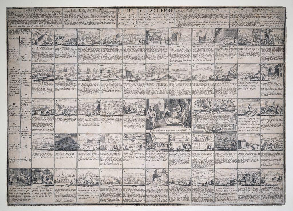 La Jeu de la Guerre. Ou tout ce qui observe dans les Marches et Campements des Armées. ca. 1750.