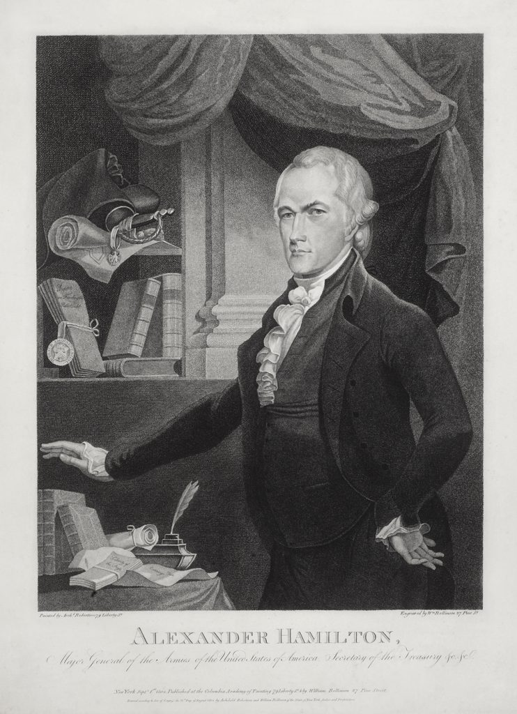 Alexander Hamilton engraving by William Rollinson after Archibald Robertson, 1804
