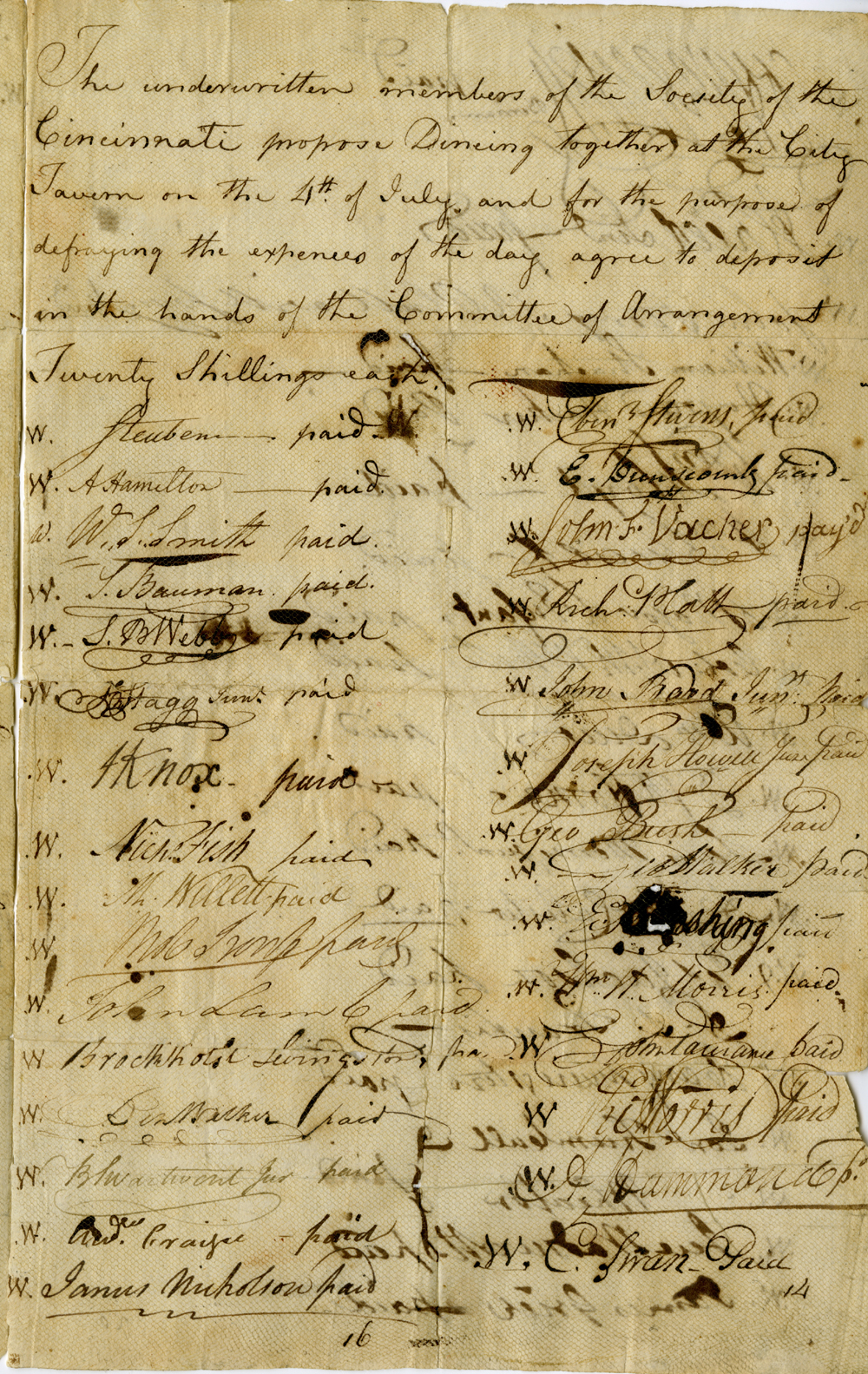 """Subscription List,"" July 4, 1789"