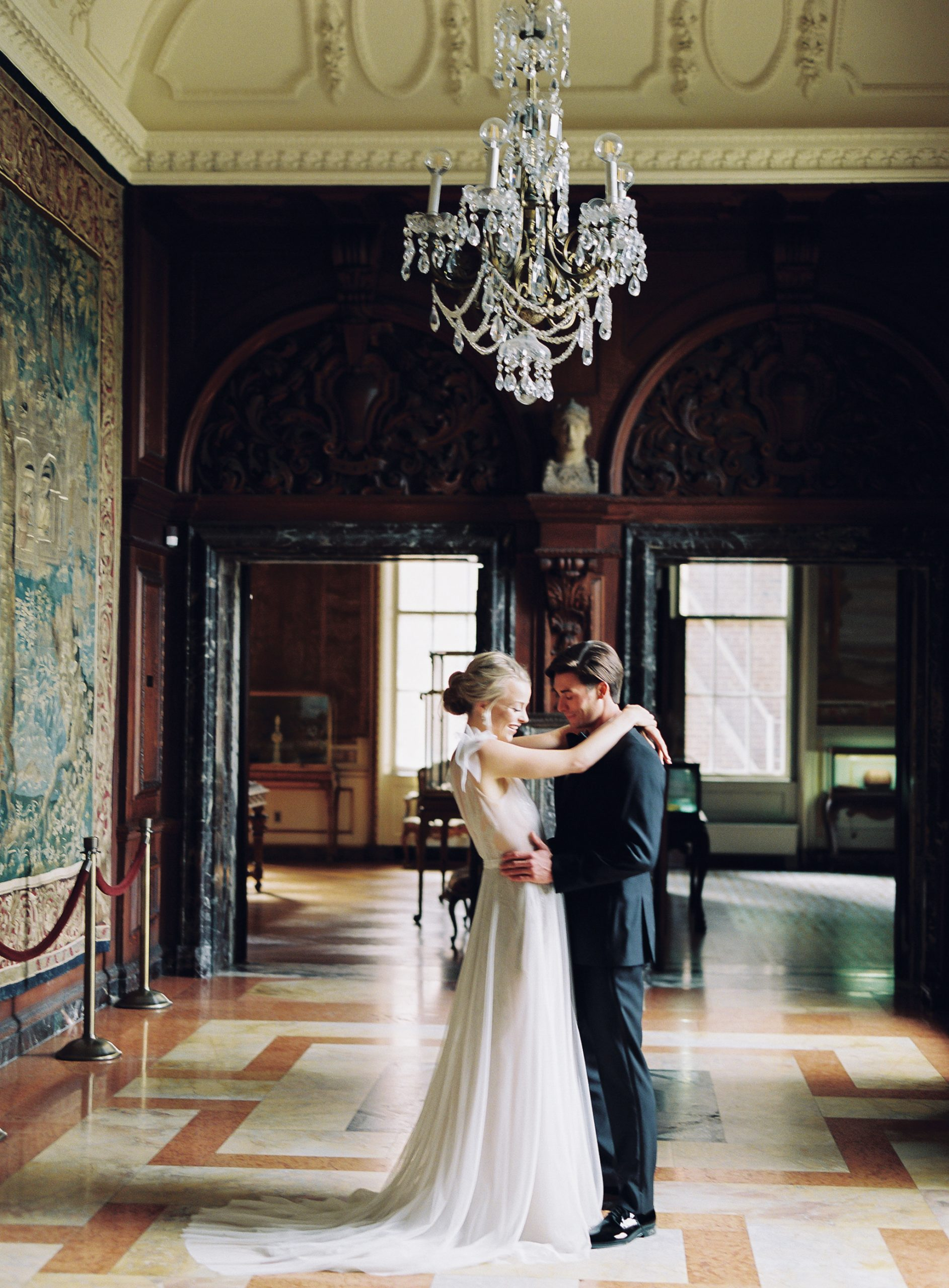 <h2>Our couple alone in the long Olmsted Gallery</h2>Photo by Vicki Grafton. Pamela Barefoot Events, planner.