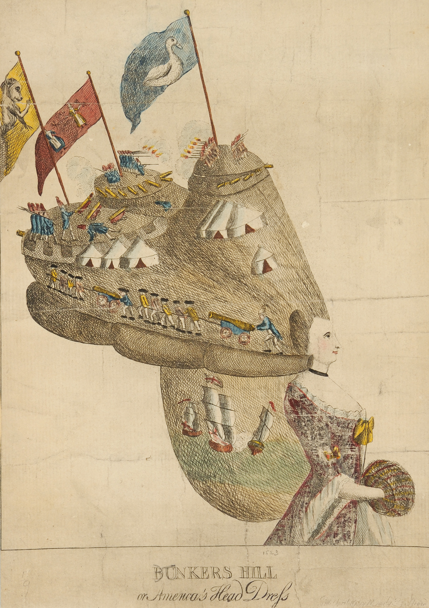 Bunkers Hill or America's Head Dress, Mary Darly, London: M. Darly, [1776]