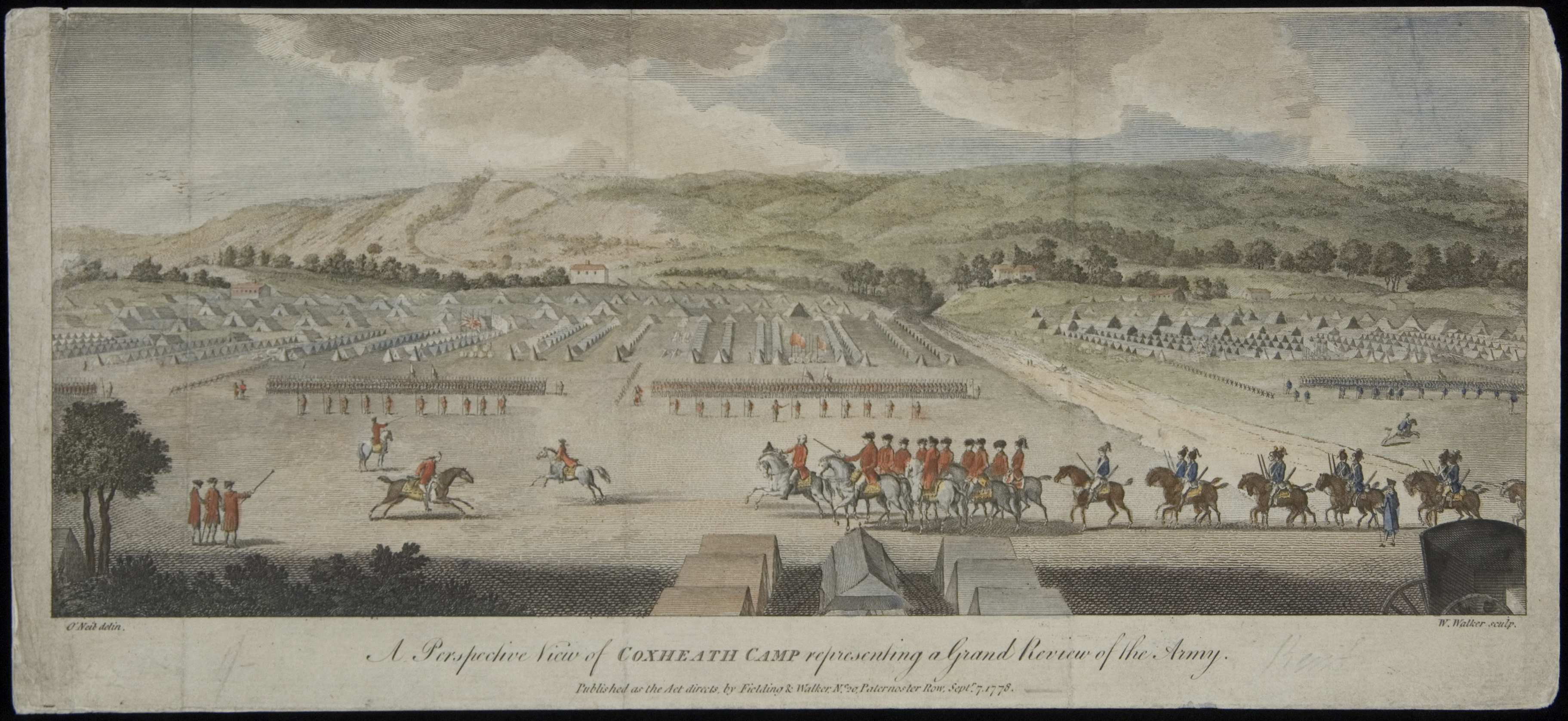 A Perspective View of Coxheath Camp representing a Grand Review of the Army, William Walker, engraver; after O'Neil, artist, London: Published by Fielding & Walker, 1778