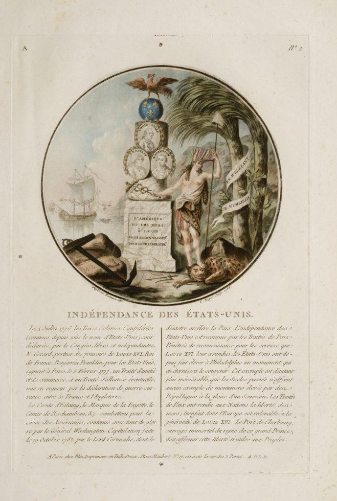 Indépendance des États-Unis, L. Roger, engraver; after Jean Duplessis-Bertaux, artist, Paris: Chez Blin, 1786