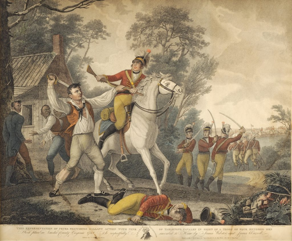 This Representation of Peter Franciscos Gallant Action with Nine of Tarleton's Cavalry in Sight of a Troop of Four Hundred Men Took place in Amelia County, Virginia 1781, David Edwin, engraver; after John James Barralet, artist, Philadelphia, 1814
