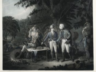 Gen. Marion in His Swamp Encampment Inviting a British Officer to Dinner, John Sartain, engraver; after John Blake White, artist, [New York]: Printed by John Dalton for the Apollo Association for the Promotion of the Fine Arts in the U.S., 1840