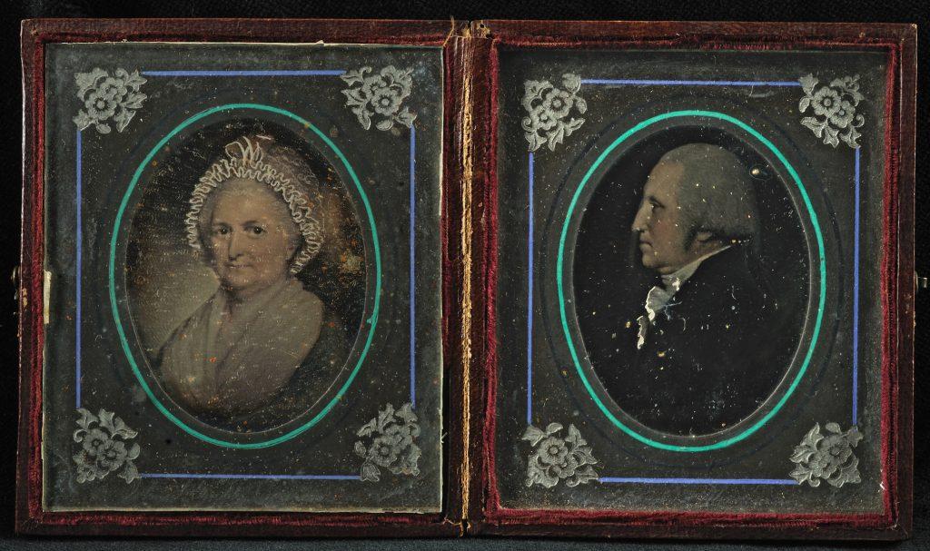 Daguerreotypes of portraits of George and Martha Washington by John L. Grubb, Alexandria, Va., mid-19th century