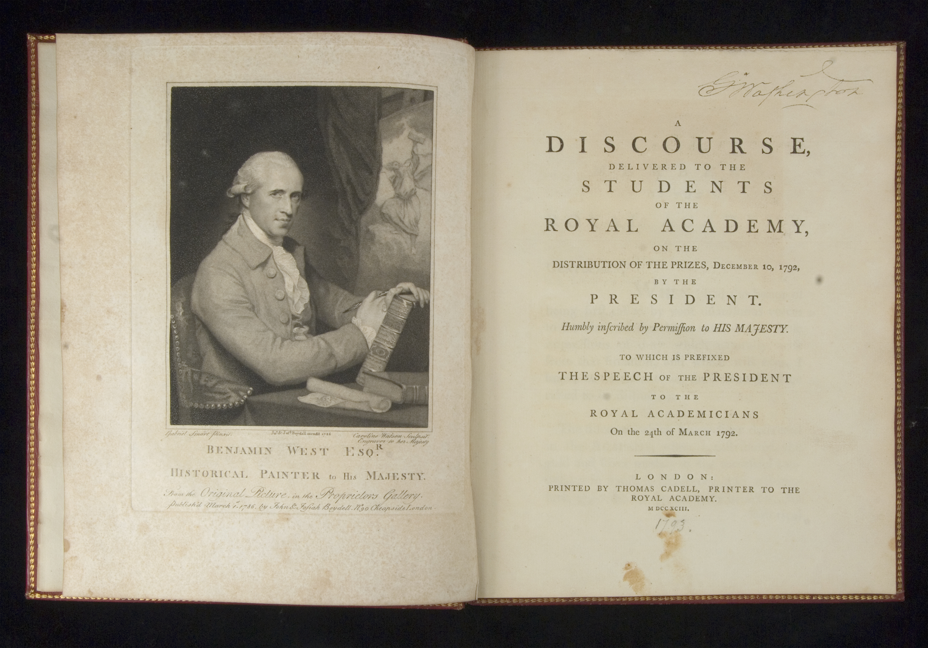 A Discourse, Delivered to the Students of the Royal Academy, Benjamin West, London: Printed by Thomas Cadell, 1793
