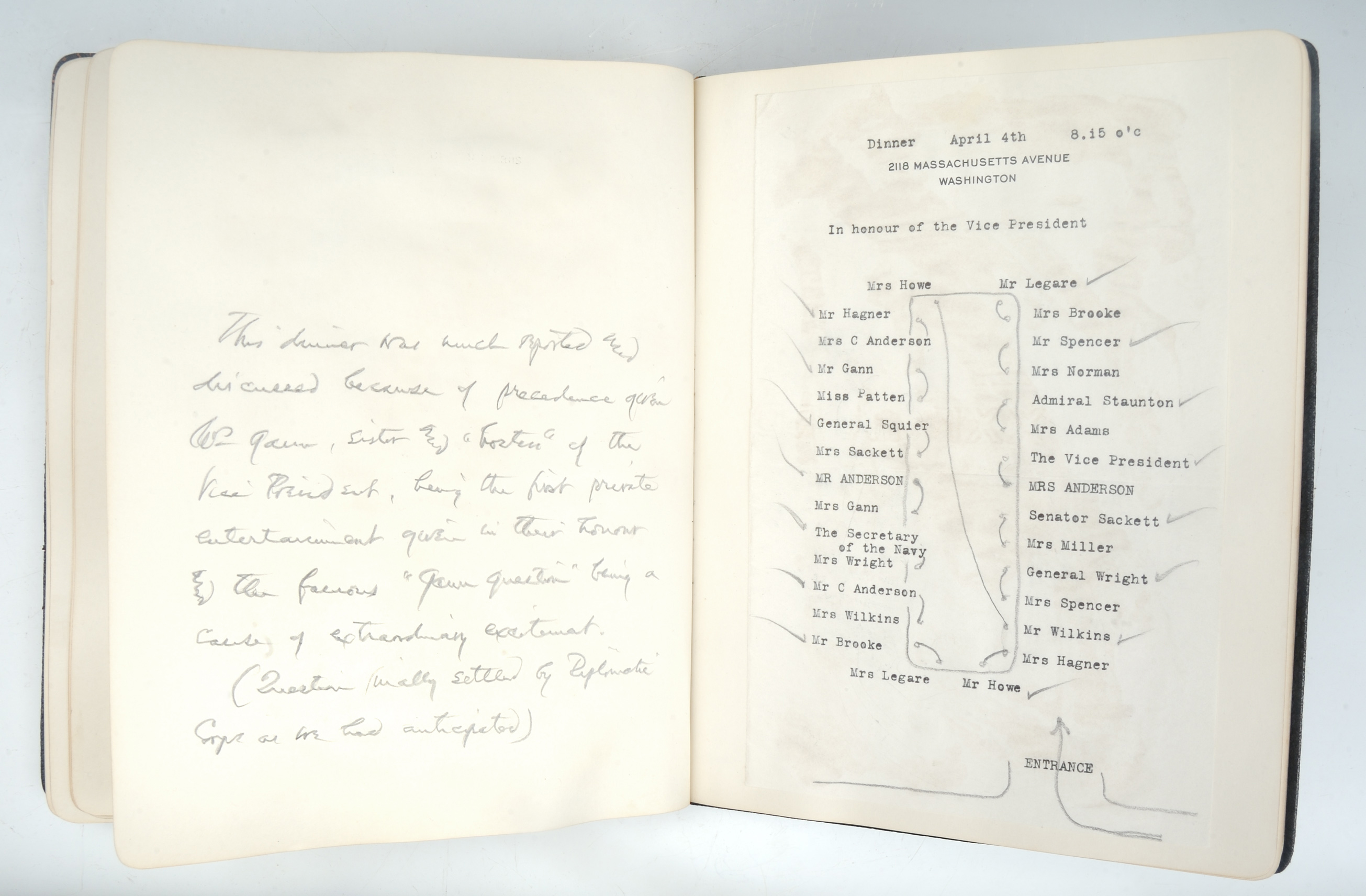 """""""A Book of Dinner lists and Plans …,"""" April 4, 1929"""