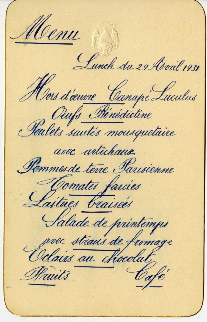 Menu card, April 29, 1931