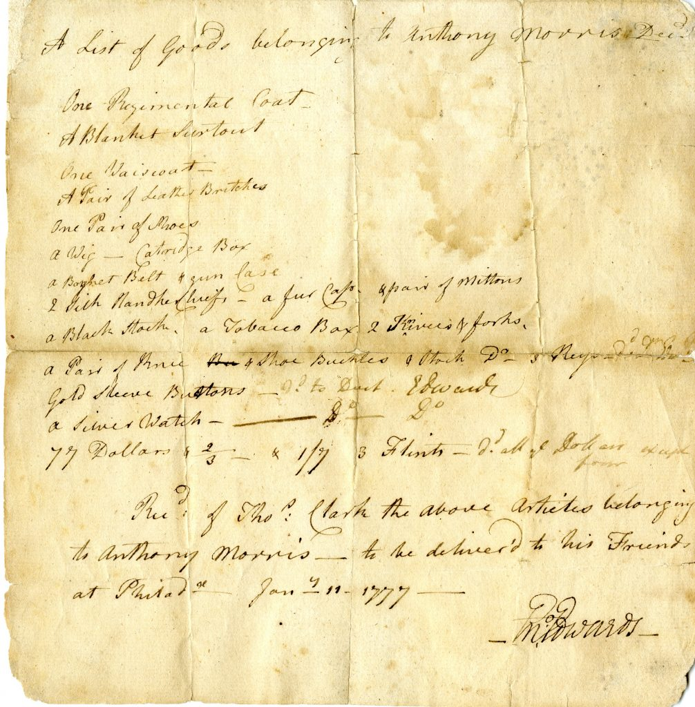 """A List of Goods belonging to Anthony Morris Dec'd,"" Enoch Edwards, January 11, 1777"