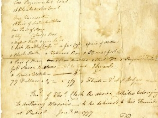 """""""A List of Goods belonging to Anthony Morris Dec'd,"""" Enoch Edwards, January 11, 1777"""