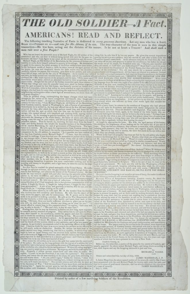 The Old Soldier—A Fact. Americans! Read and Reflect, Printed by order of a few surviving soldiers of the Revolution, [1828]