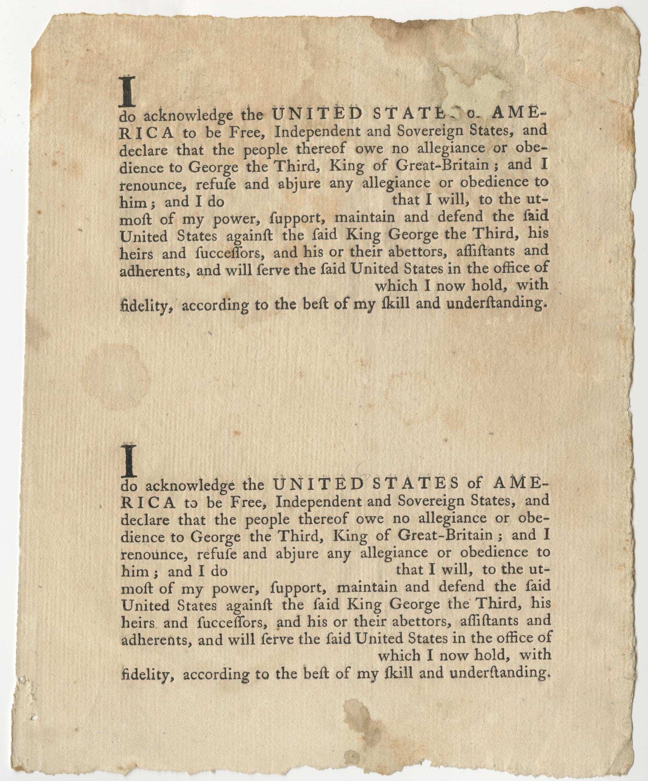 Oath of allegiance to the United States [Philadelphia: John Dunlap, 1778]