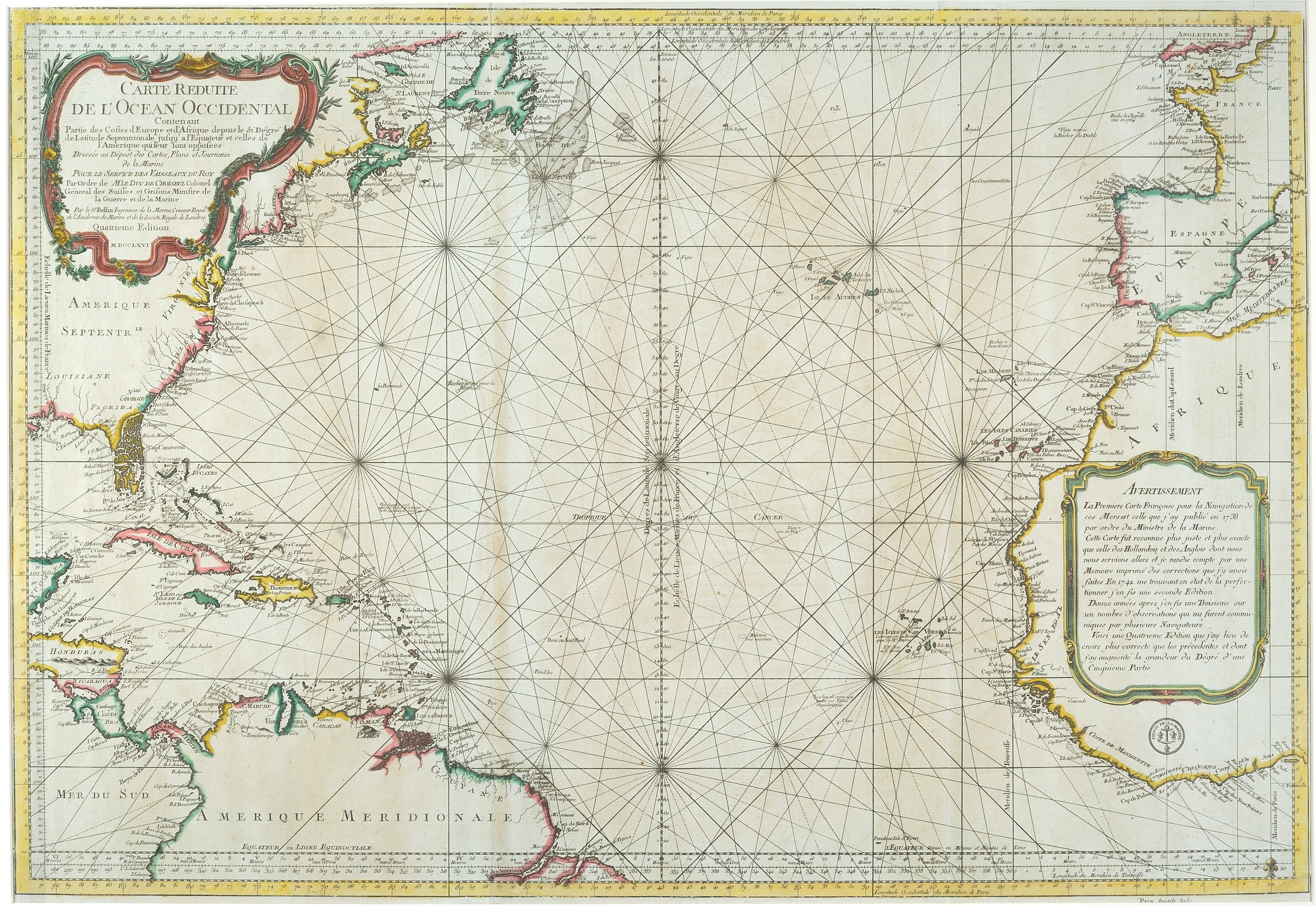 Carte Réduite de l'Ocean Occidental, Jacques-Nicholas Bellin,  Paris: Dépôt de la Marine, 1766