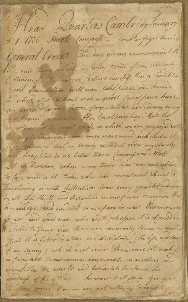 Orderly book of the Continental Army Artillery kept by Gershom Foster, Cambridge, Mass., January 1-February 24, 1776