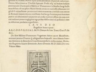 De re Militari, Flavius Vegetius Renatus, Bononiae: Ioannes Antonisu de Benedictis, 1505
