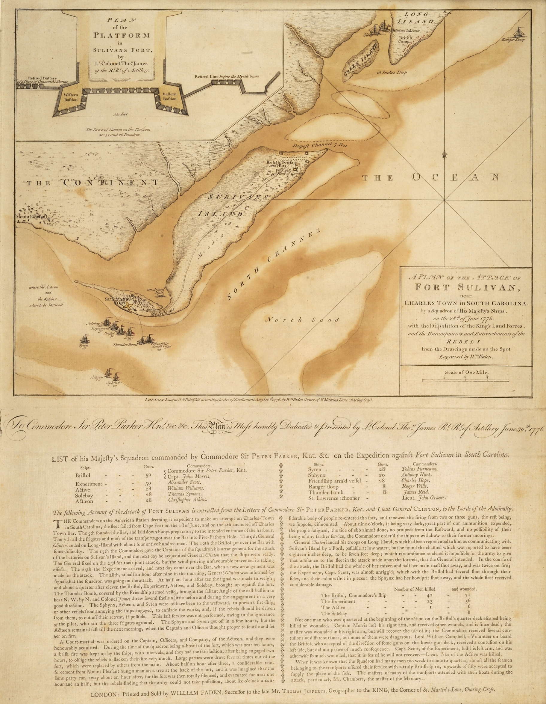 A Plan of the Attack of Fort Sulivan, near Charles Town in South Carolina, by a Squadron of His Majesty's Ships, on the 28th of June 1776, with the Disposition of the King's Land Forces, and the Encampments and Entrenchments of the Rebels from the Drawings made on the Spot, William Faden, London: Engraved & Publish'd by Wm. Faden, 1776