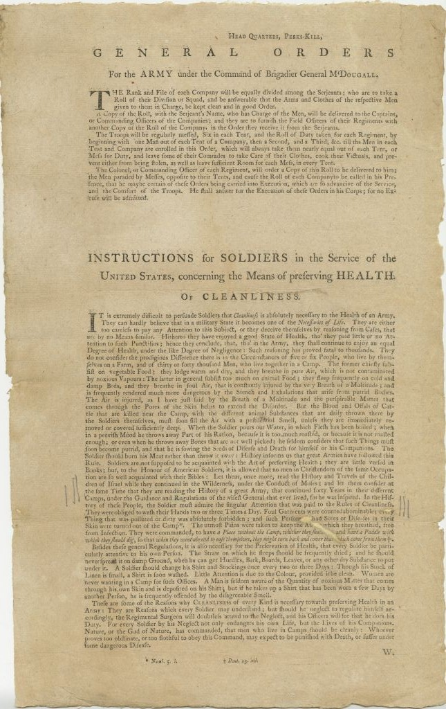General Orders for the Army under the Command of Brigadier General M'Dougall…. Instructions for Soldiers in the Service of the United States, Concerning the Means of Preserving Health. Of Cleanliness, George Washington, [Fishkill, N.Y.: Samuel Loudon, 1777]