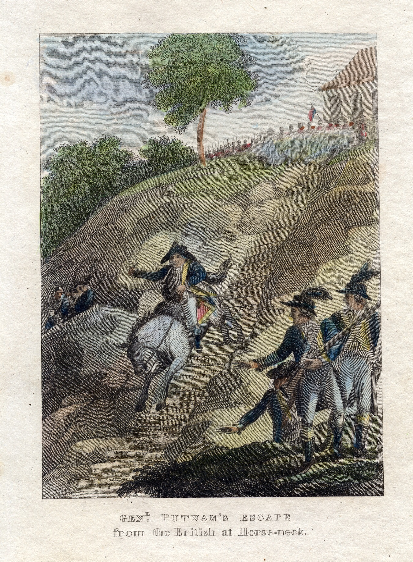 """Genl. Putnam's Escape from the British at Horse-neck,"" American Military Biography; Containing the Lives, Characters, and Anecdotes of the Officers of the Revolution, Hartford: Printed for the Subscribers; Roberts & Burr, Printers, 1825"