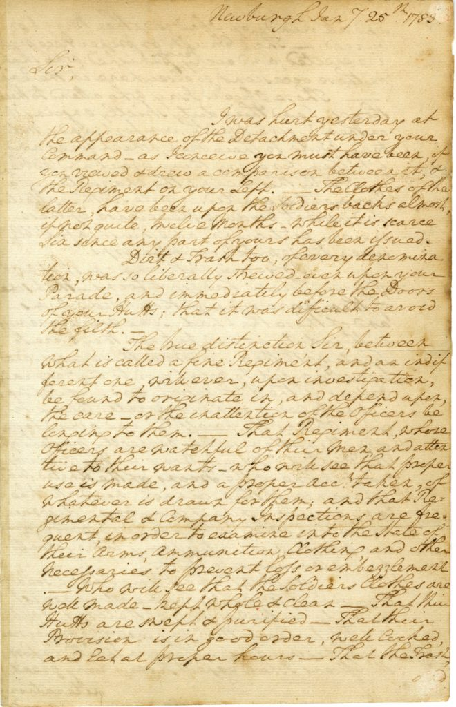 George Washington to Thomas Lancaster Lansdale, January 25, 1783