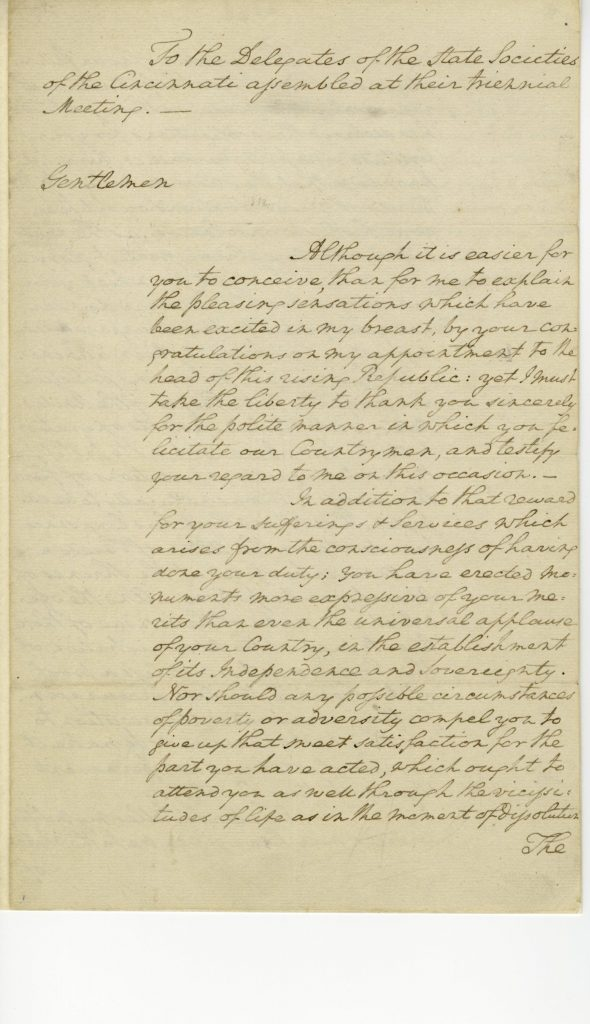 George Washington to the Delegates of the State Societies of the Cincinnati, May 1790