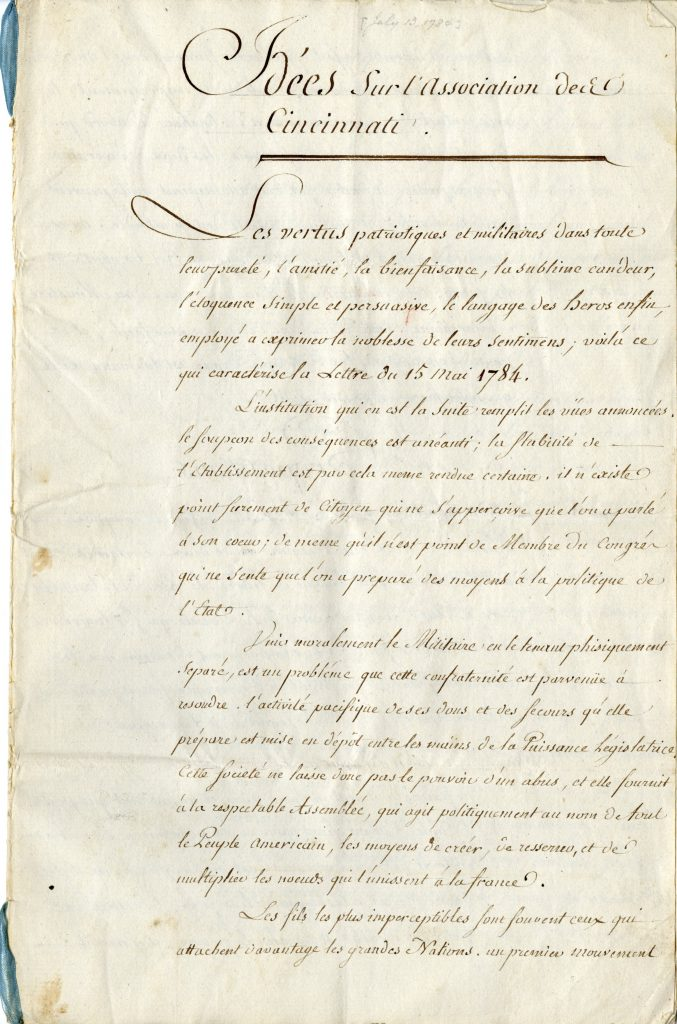 """Idees sur l'Associaton des Cincinnati,"" Charles Henri, comte d'Estaing, July 13, 1784"