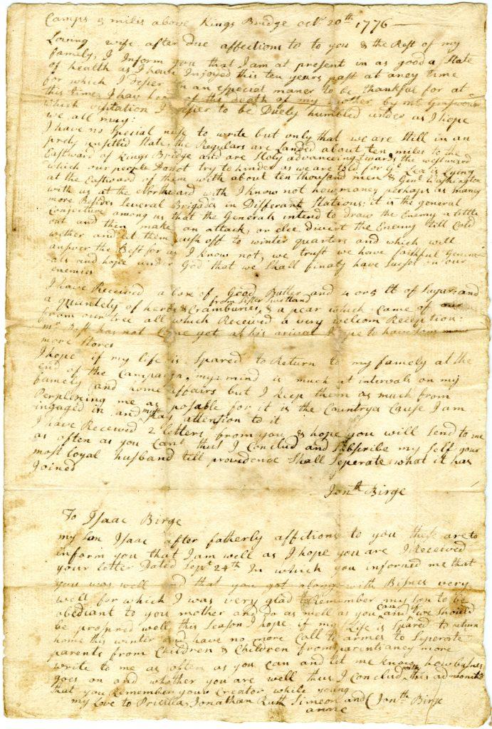 Jonathan Birge to Priscilla Birge, October 20, 1776