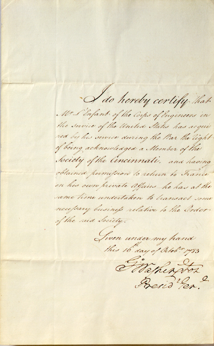 Certification of Pierre-Charles L'Enfant's membership in the Society of the Cincinnati, George Washington, October 16, 1783