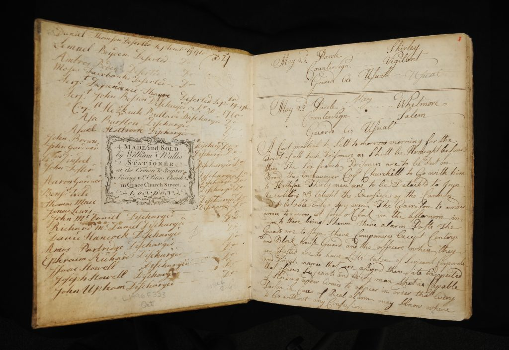 Orderly book of Captain Simon Slocumb's Company of the Massachusetts Regiment of Foot, Fort Cumberland, Nova Scotia, May 10, 1759-September 6, 1760