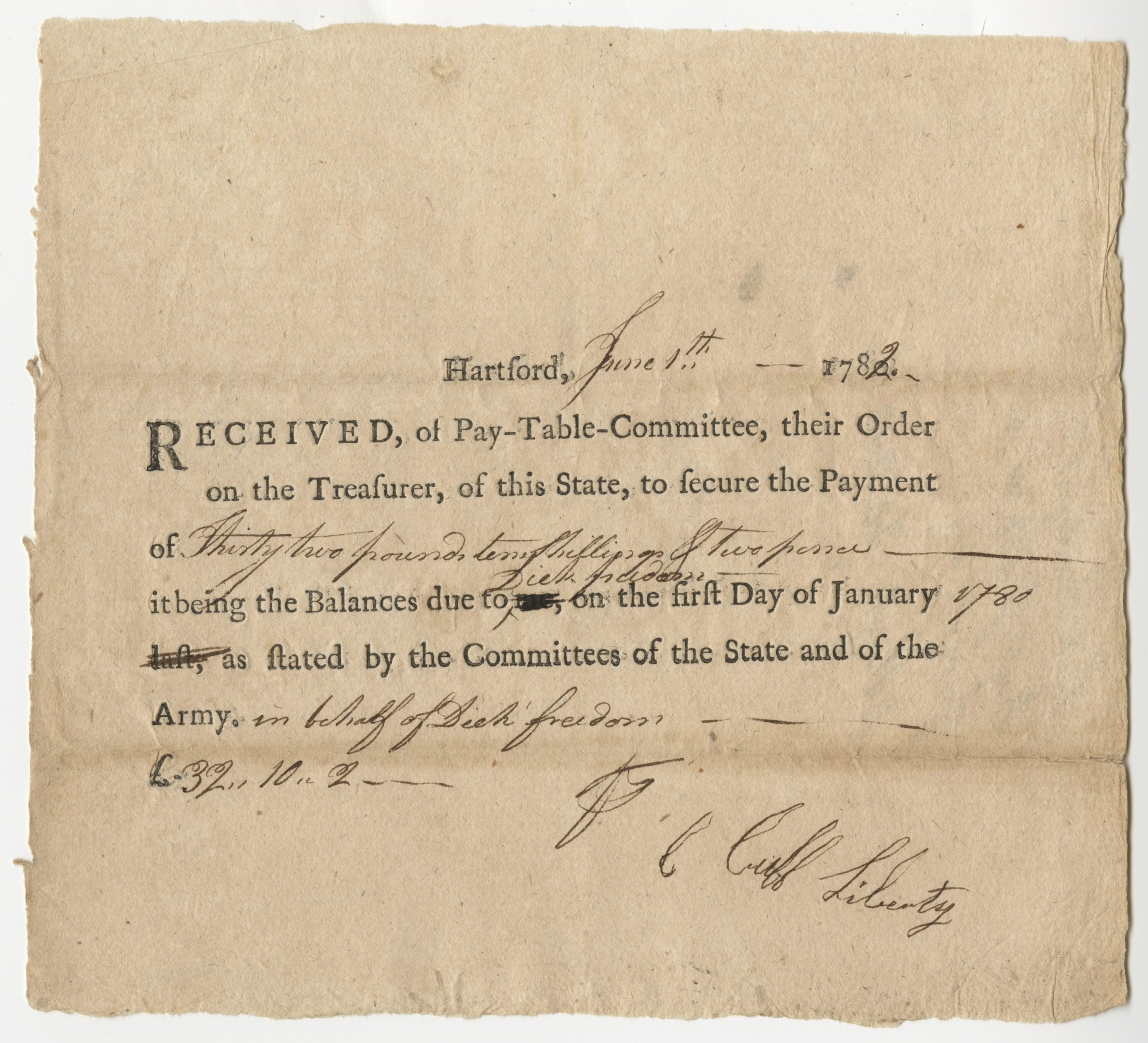 Connecticut Pay-Table Committee receipt, Cuff Liberty and Dick Freedom, Hartford, June 7, 1782