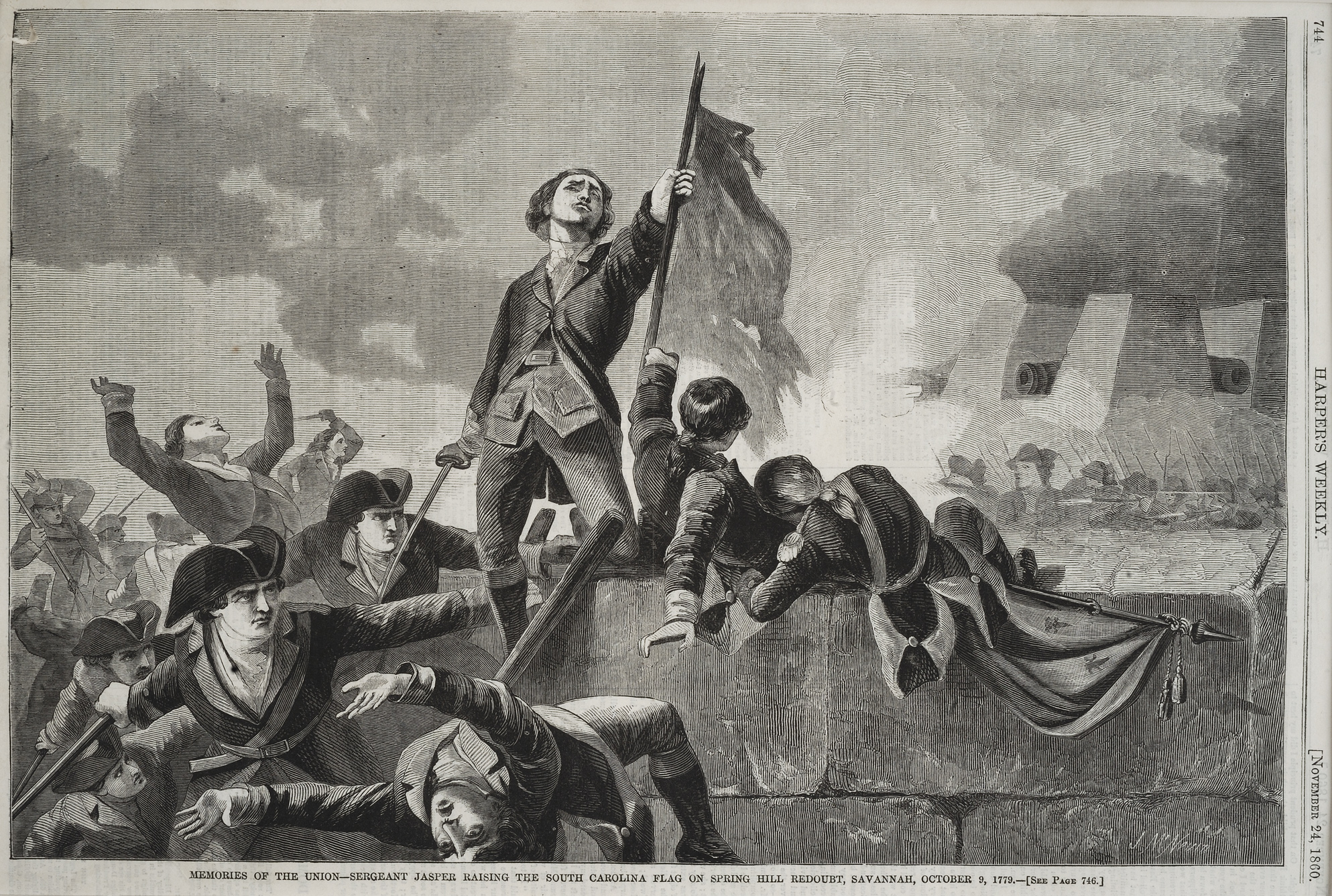 Memories of the Union – Sergeant Jasper Raising the South Carolina Flag on Spring Hill Redoubt, Savannah, October 9, 1779, John McNevin, Harper's Weekly, November 24, 1860