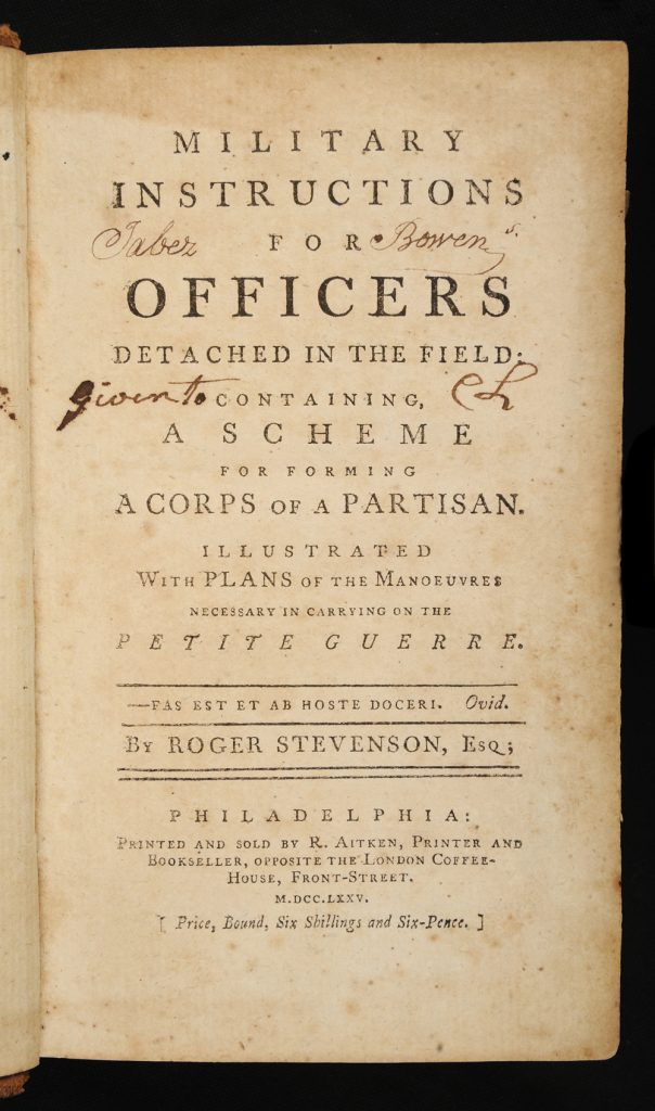 <em>Military Instructions for Officers Detached in the Field</em> by Roger Stevenson, 1775