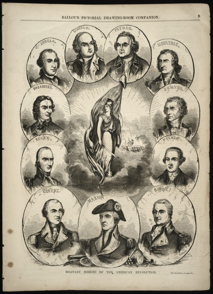 """Military Heroes of the American Revolution,"" William J. Baker, engraver; after Lawrence Kilburn, artist, Ballou's Pictorial Drawing-Room Companion, ca. 1850"