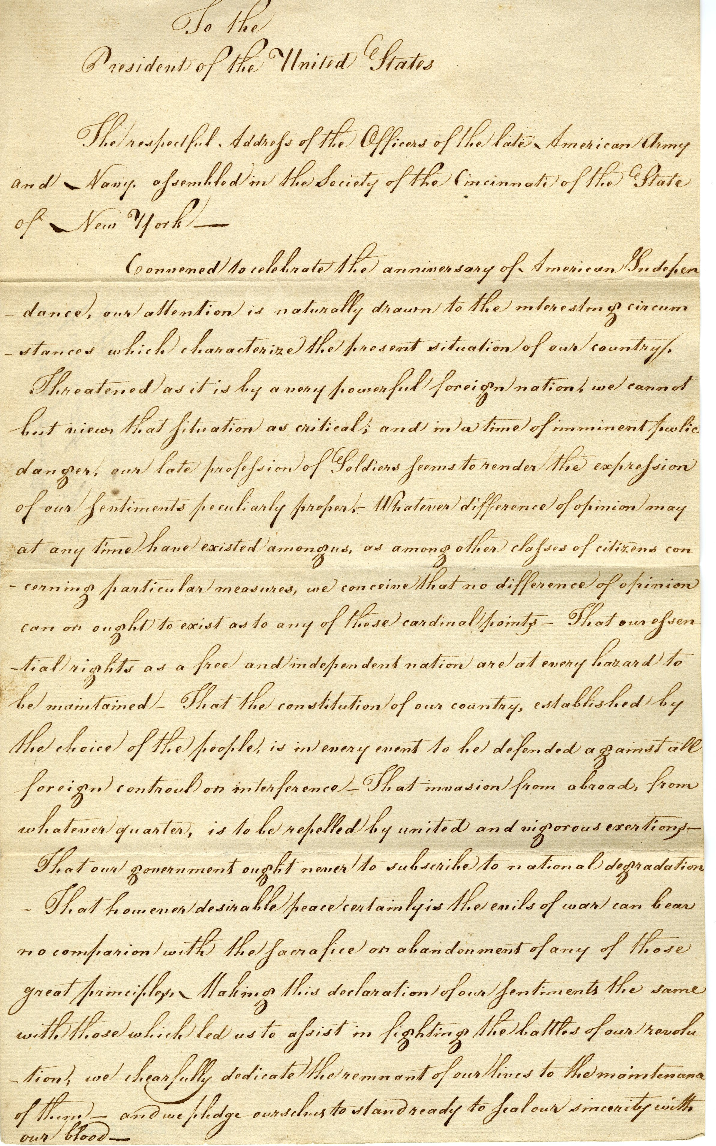 """To the President of the United States: The respectful Address of the Officers of the late American Army and Navy assembled in the Society of the Cincinnati of the State of New York,"" New York State Society of the Cincinnati, 1812"