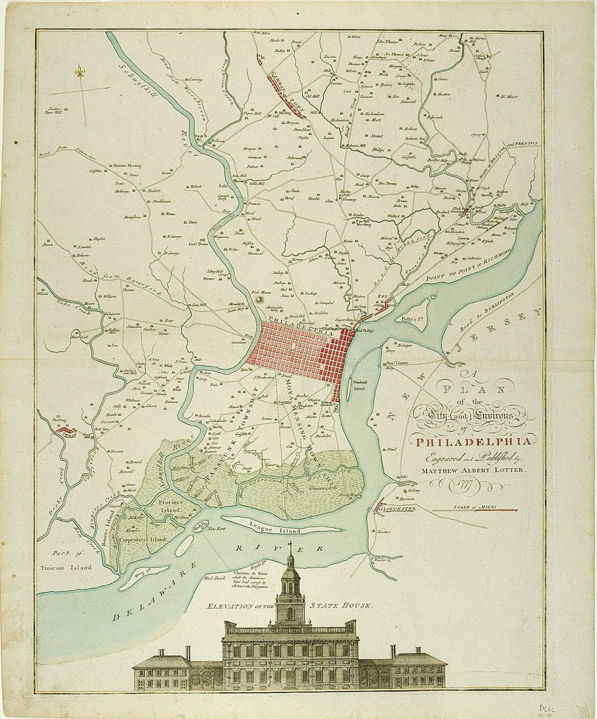 A Plan of the City and Environs of Philadelphia, Matthäus Albrect Lotter, [Augsburg]: Matthäus Albrect Lotter, 1777