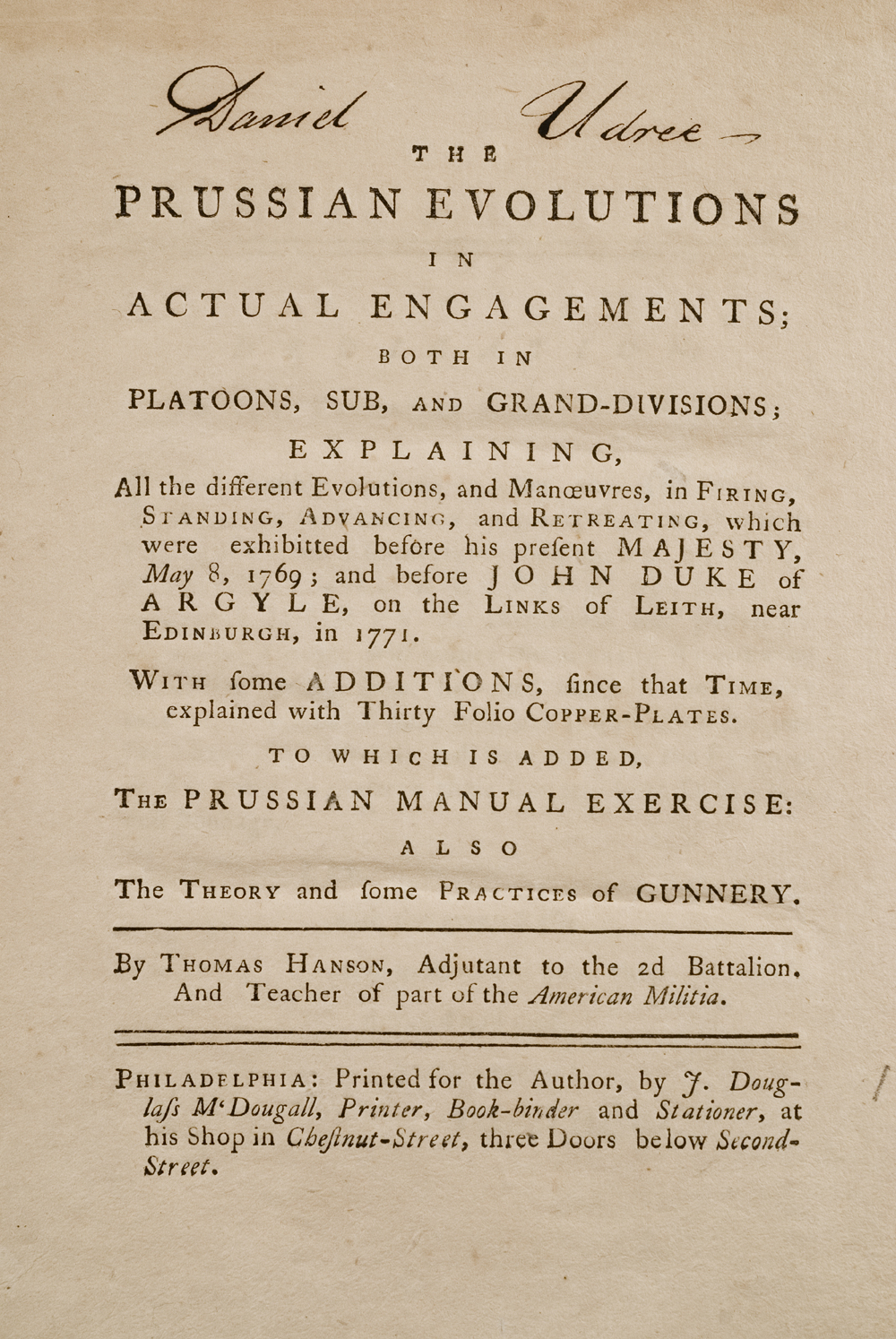 <em>The Prussian Evolutions in Actual Engagements</em> by Thomas Hanson, 1775