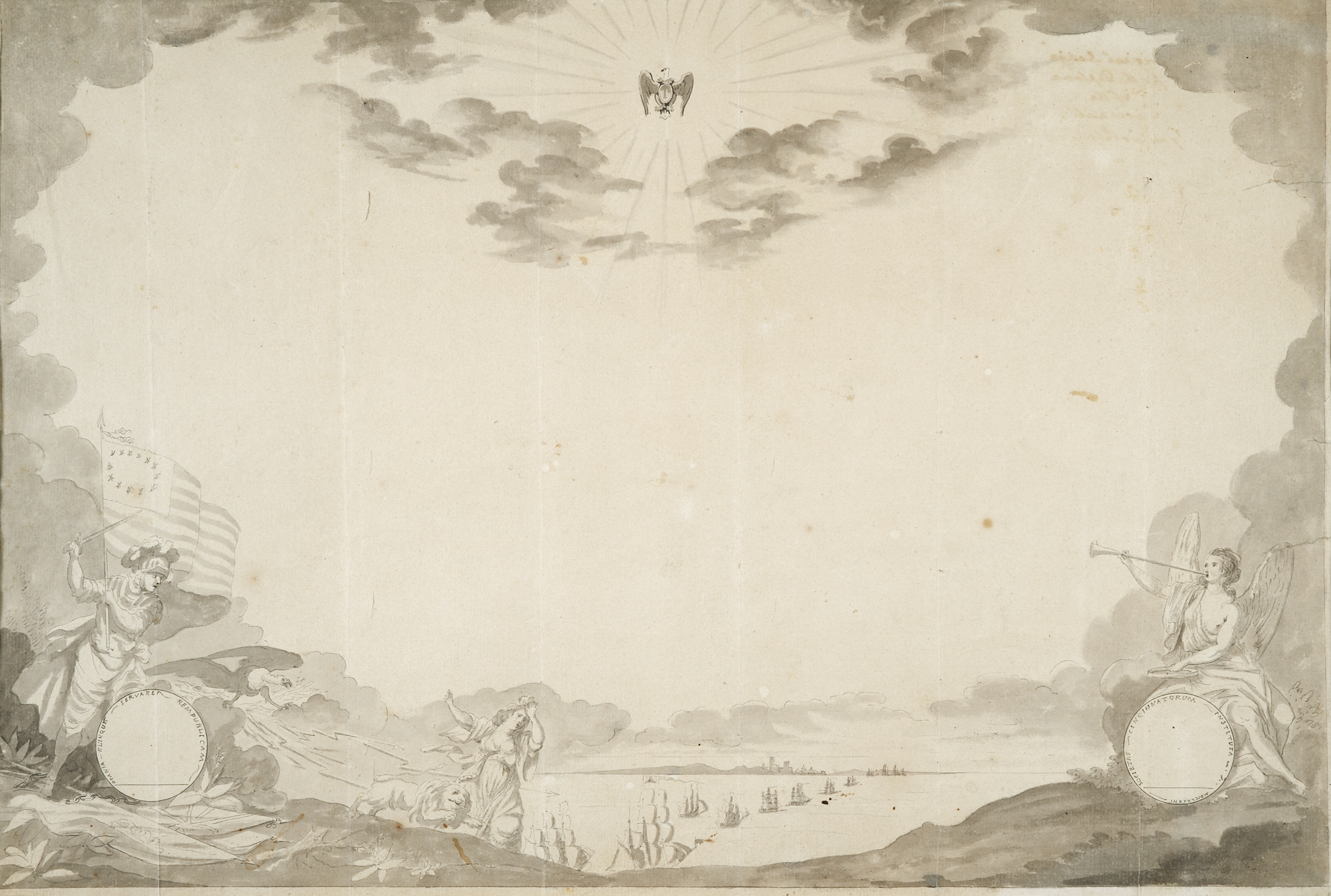 Sketch for the diploma of the Society of the Cincinnati, Pierre-Charles L'Enfant, June 1783