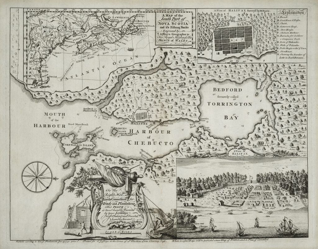 A Map of the South Part of Nova Scotia and its Fishing Banks, Thomas Jefferys, London: Printed for T. Jefferys, 1750