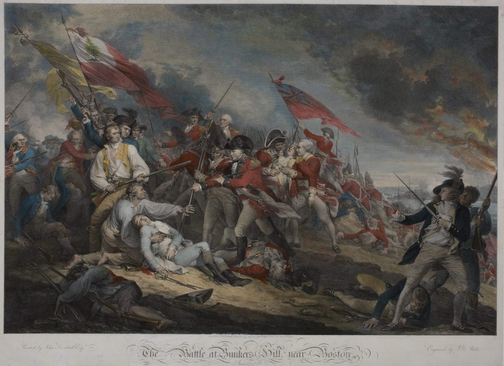 The Battle at Bunkers Hill, near Boston the June 17th 1775, Johann Gotthard von Müller, engraver; after John Trumbull, artist, London: Antonio C. de Poggi, 1798