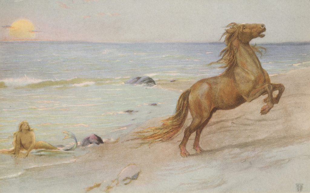 <em>He would not have minded having one pretty mermaid for his mistress</em> by John Elliott, 1909