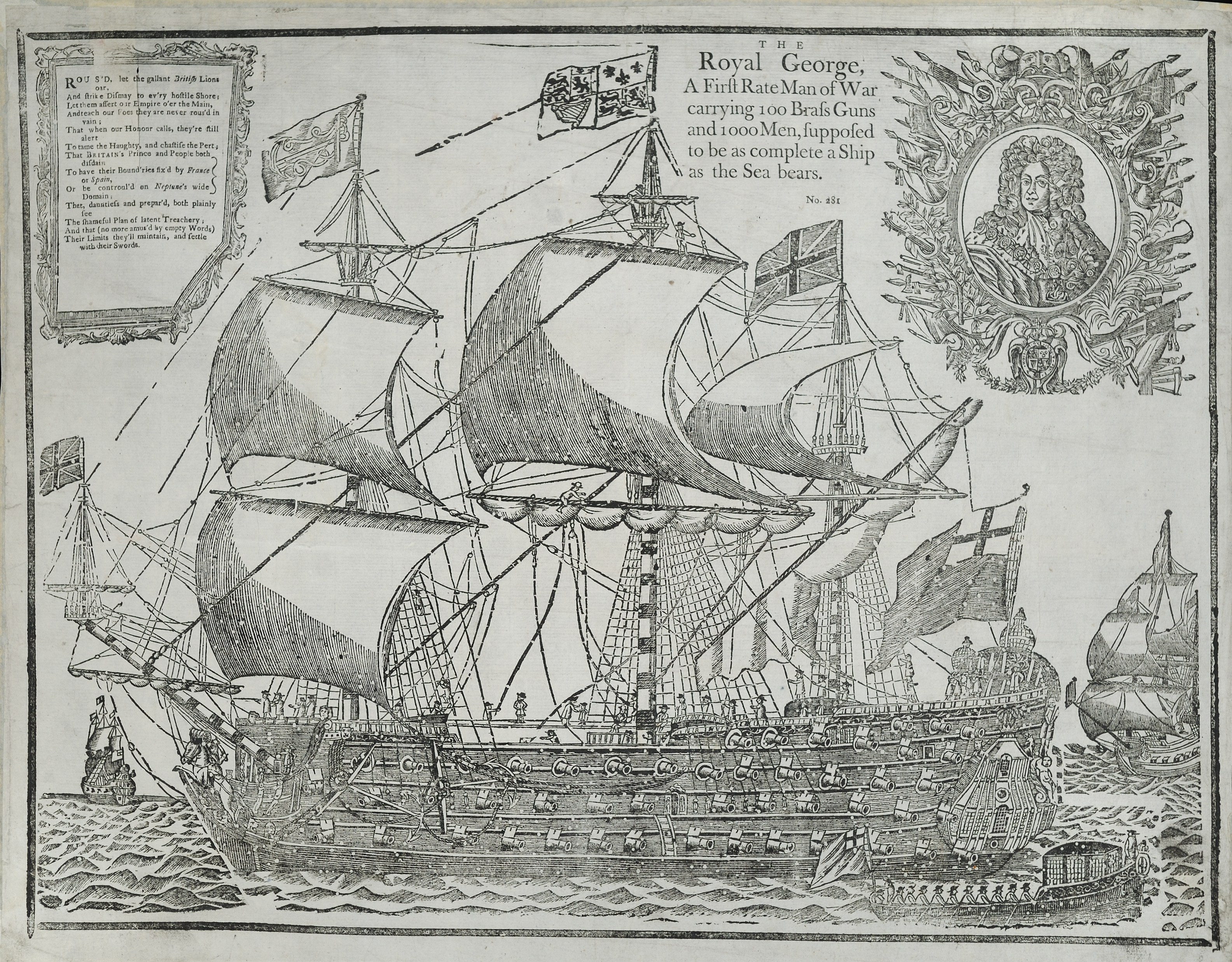 The Royal George: A First Rate Man of War Carrying 100 Brass Guns and 1000 Men, Supposed to be as Complete a Ship as the Sea Bears, [London, 1756?]