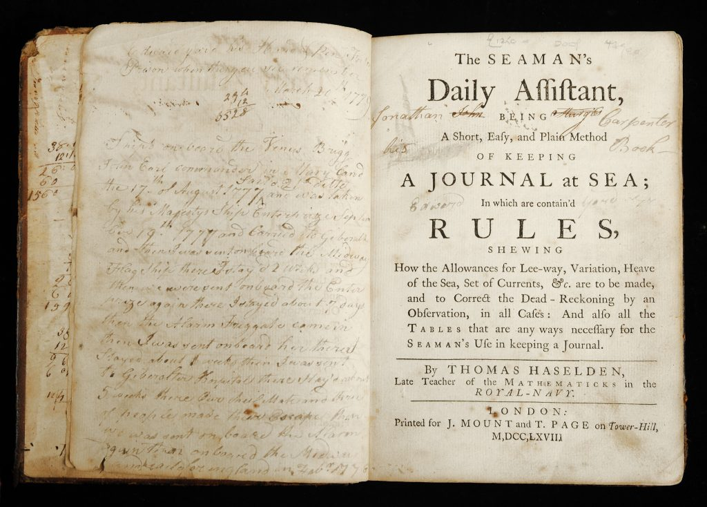 The Seaman's Daily Assistant, being a Short, Easy, and Plain Method of Keeping a Journal at Sea, Thomas Haselden, London: Printed for J. Mount and T. Page, 1767