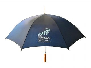 This umbrella is offered exclusively in the American Revolution Institute Shop.