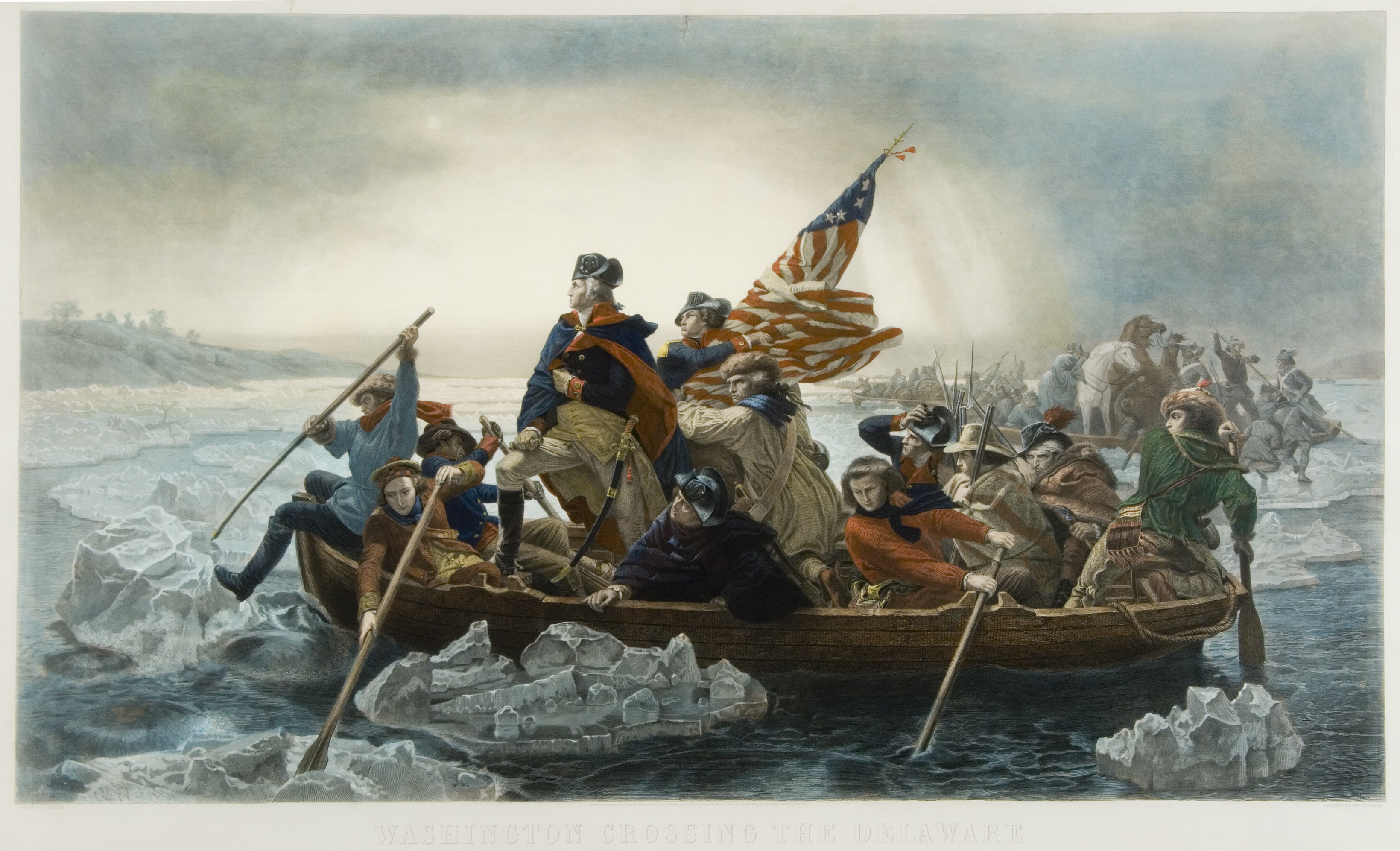 Washington Crossing the Delaware, Paul Giradet, engraver; after Emanuel Gottlieb Leutze, artist, New York, Berlin and Paris: Goupil & Co., 1853