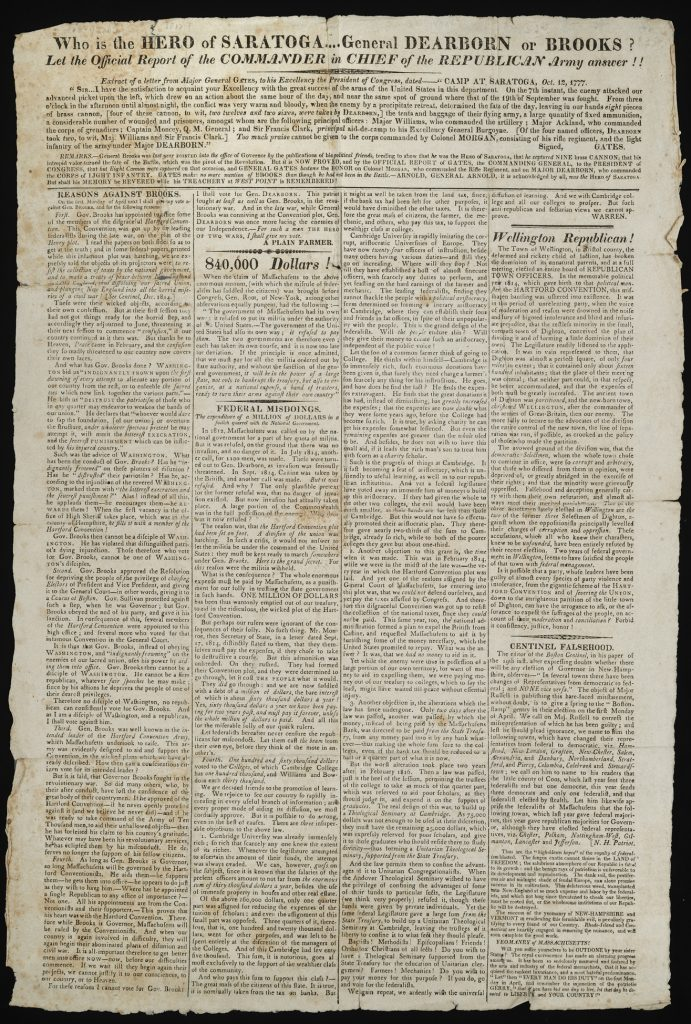 Who Is the Hero of Saratoga….General Dearborn or Brooks? Let the Official Report of the Commander in Chief of the Republican Army Answer!! [Boston: Printed by Adams & Rhoades, 1817]
