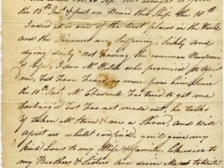 """William Russell to Mary Richardson """"On Board the Jersey Prison Ship,"""" November 25, 1782"""