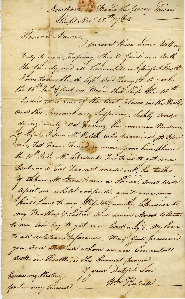 "William Russell to Mary Richardson ""On Board the Jersey Prison Ship,"" November 25, 1782"