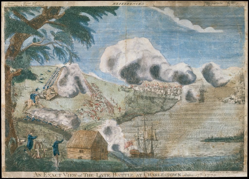 3 An Exact View of the Late Battle at Charlestown June 17th 1775 by Bernard Romans, 1775