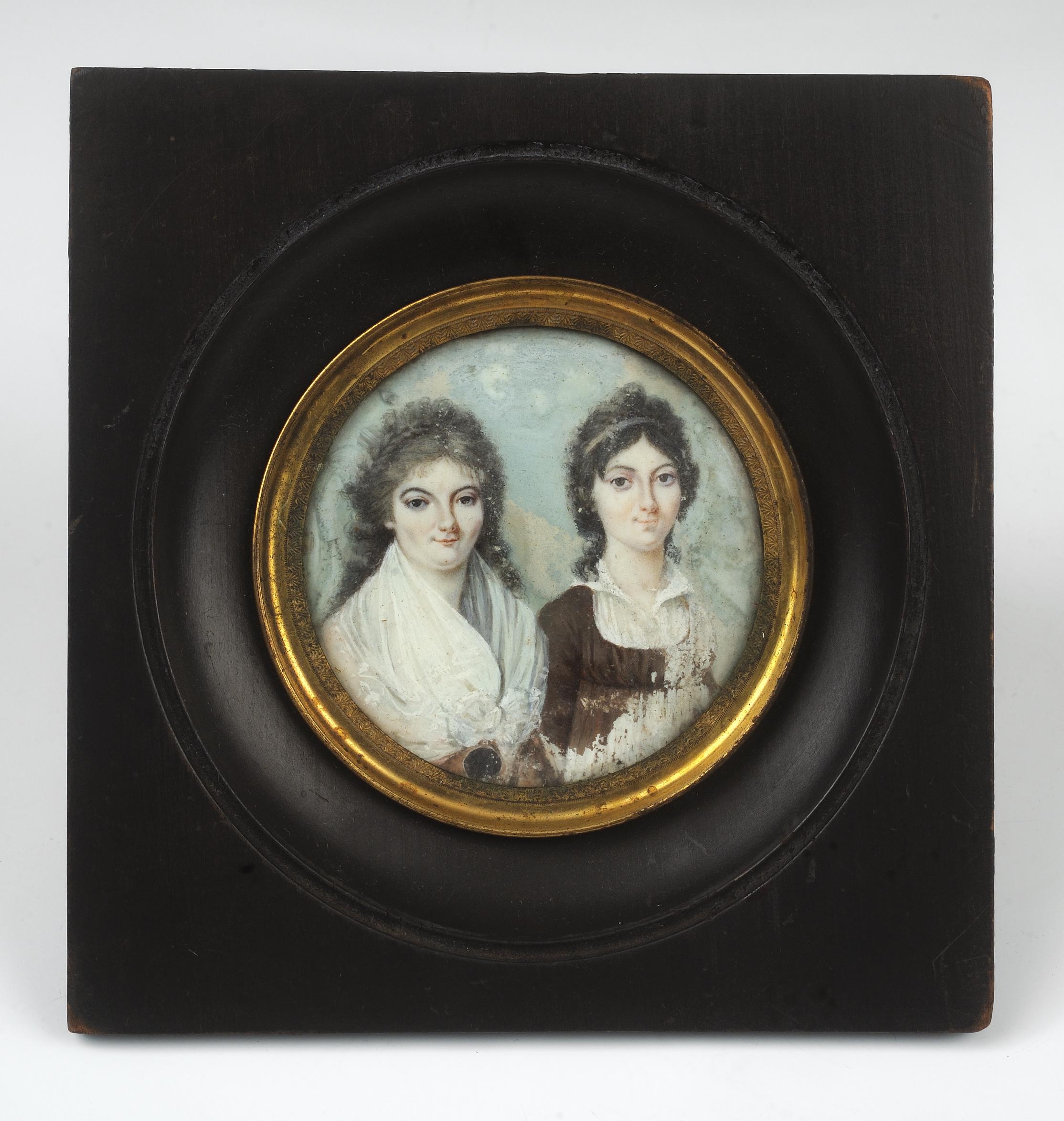 Amelie and Melanie de Grasse portrait miniature, ca. 1794-1799