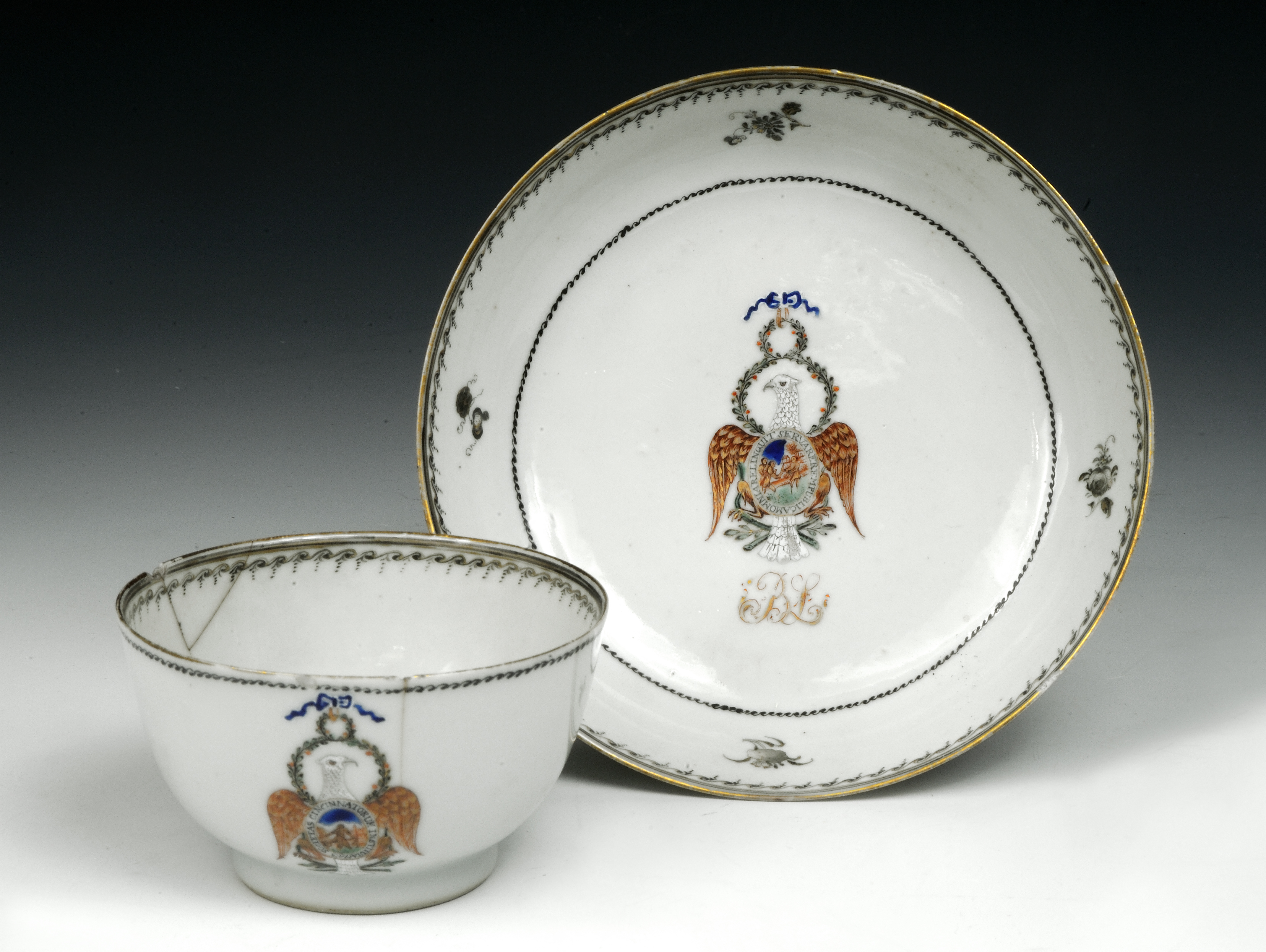 Society of the Cincinnati teacup and saucer owned by Benjamin Lincoln, ca. 1790